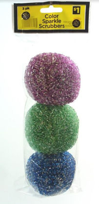 Picture of Sparkle Plastic Scrubbers for Kitchen or Bath - Pack of 3 - Assorted Colours - Price Marked $1