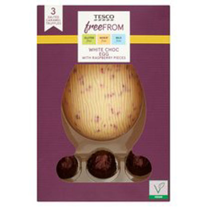 Picture of Tesco Free From White Chocolate & Raspberry Egg & Truffles 120G