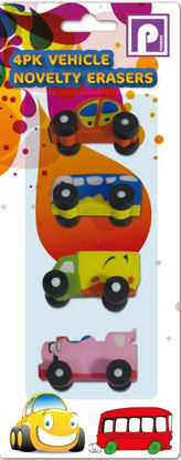 Picture of Vehicle Novelty Eraser Rubbers - Assorted Colours And Designs - Pack Of 4