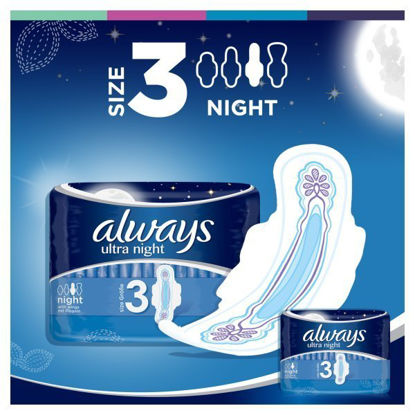 Picture of Always Ultra Night Sanitary Towels with Wings - Size 3, 20 Pads