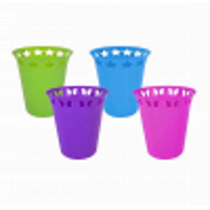 """Picture of Funky """"Brights"""" Plastic Waste Paper Bin with Cut-Out Star and Butterfly Designs"""