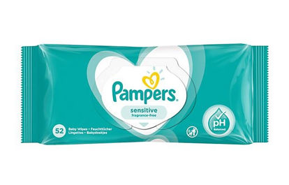 Picture of Pampers Sensitive Baby Wipes - Fragrance Free - Pack of 52