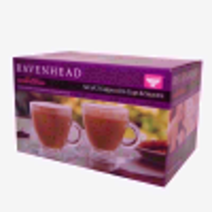 Picture of Entertain Cappuccino Cups & Saucers 6.9oz / 195ml - Set of 2 | Glass Coffee Cups, Coffee Glasses