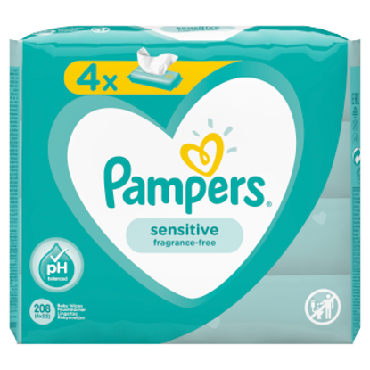 Picture of Pampers Sensitive Baby Wipes 4 Packs = 208 Wipes