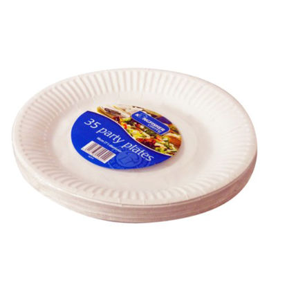 Picture of Kingfisher Paper Disposable Plates, White, 7-Inch, Pack of 35
