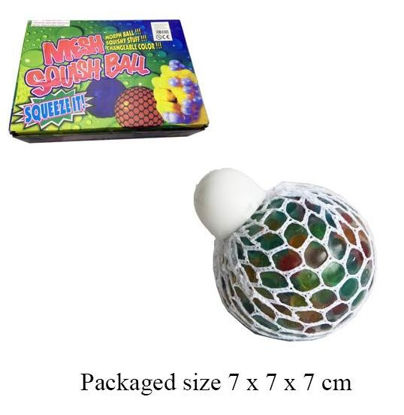 Picture of Rainbow Squishy Mesh Ball Stress Reliever Squeeze Toy Colourful Slime