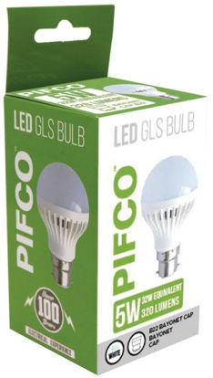 Picture of Pifco LED GLS Bulb - B22 Bayonet Cap - Cool White - 5W - 320 Lumens