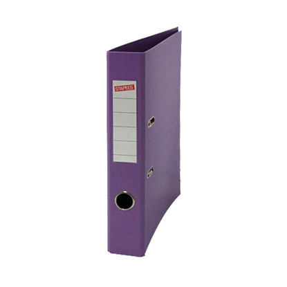 Picture of Staples Premium Lever Arch File A4 50mm 2 Ring Polypropylene Metal Bound Edges Purple 22147STAP