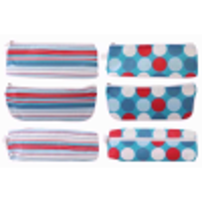 Picture of JUST STATIONERY PENCIL CASE SPOTS STRIPES