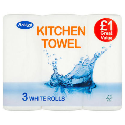 Picture of Breeze Kitchen Towel 3 White Rolls