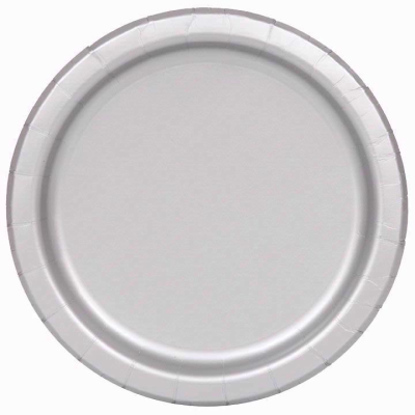 """Picture of 32 SILVER Paper Plates Disposable 9"""" Wedding Anniversary Party Picnic BBQ"""