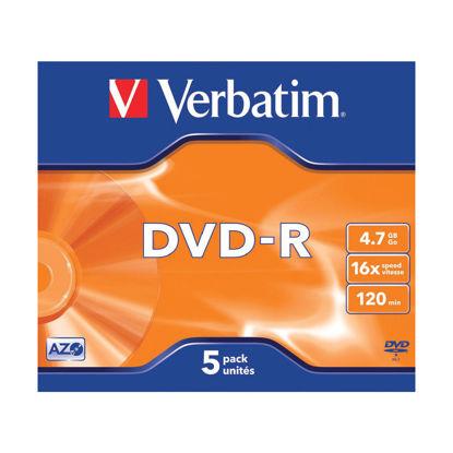 Picture of Verbatim DVD-R Speed Jewel Case 4x 4.7GB (Pack of 5) 43246