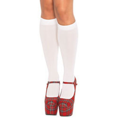 Picture of Leg Avenue Nylon Knee Highs White UK 8 to 14