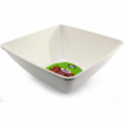 Picture of 2 x WHITE PLASTIC DISPOSABLE SQUARE SERVING BOWLS - 28cm Great for serving sharing and snacks FREE DELIVERY