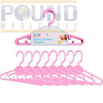 Picture of FIRST STEP 8 BABY CLOTHES HANGERS PINK