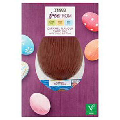 Picture of Tesco Free From Chocolate Caramel Egg With Buttons 115G