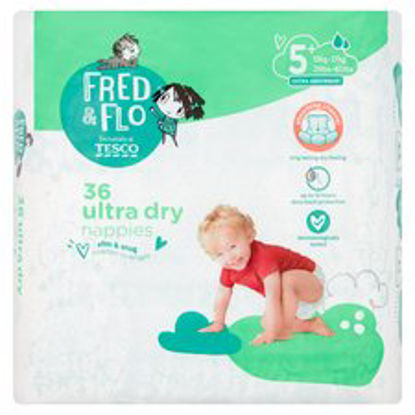 Picture of Fred & Flo 36 Ultra Dry Nappies 5+