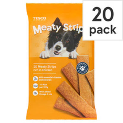 Picture of Tesco Meaty Strips For Dogs Chicken 200G
