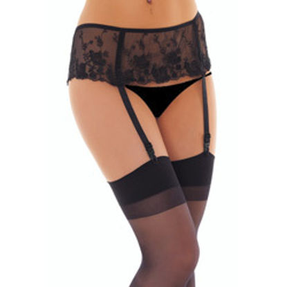 Picture of Black Floral Suspenderbelt And Stockings