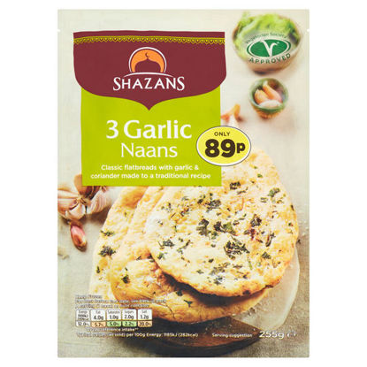 Picture of Shazans 3 Garlic Naans 255g