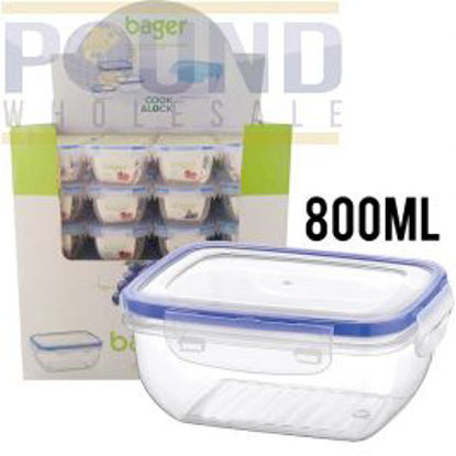 Picture of BAGER CLICK & LOCK RECTANGULAR FOOD STORAGE CONTAINER 800ML CDU