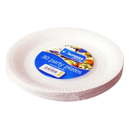 Picture of Kingfisher Paper Disposable Plates, White, 9-Inch, Pack of 30