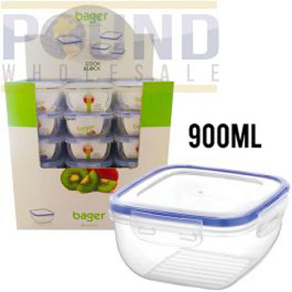 Picture of BAGER CLICK & LOCK SQUARE FOOD STORAGE CONTAINER 900ML CDU