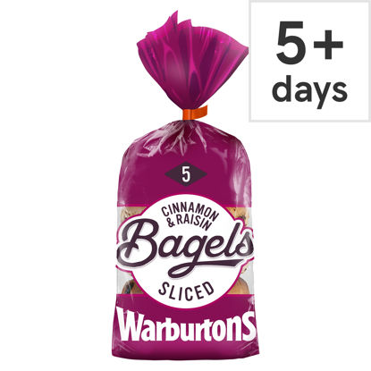 Picture of Warburtons 5 Cinnamon & Raisin Bagels