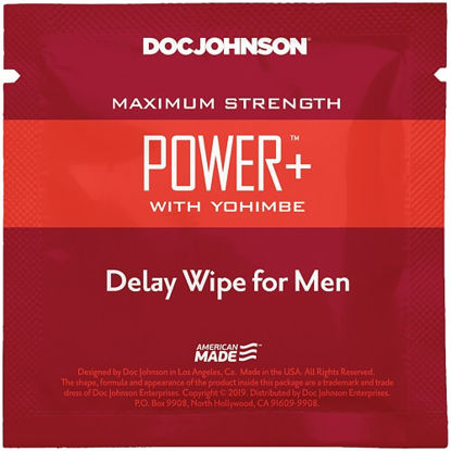 Picture of Doc Johnson Power Delay with Yohimbe Delay Wipe For Men