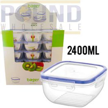 Picture of BAGER CLICK & LOCK SQUARE FOOD STORAGE CONTAINER 2400ML CDU