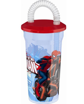 Picture of Marvel Ultimate Spider Man Glass with Straw for Kids
