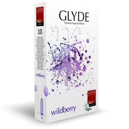 Picture of Glyde Ultra Wildberry Flavour Vegan Condoms 10 Pack