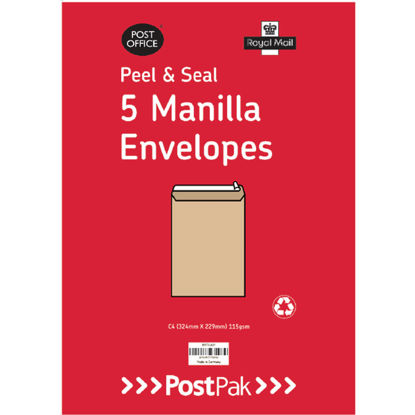Picture of PO C4 Peel and Seal 115g Manilla (Pack of 5)