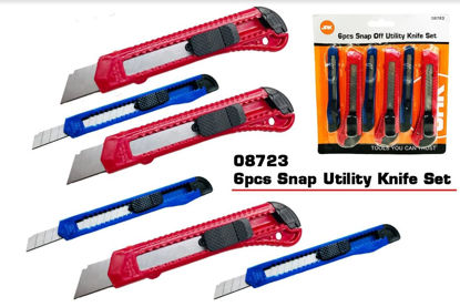 Picture of 6 Pieces Snap Off Utility Knife Set - Assorted Colours