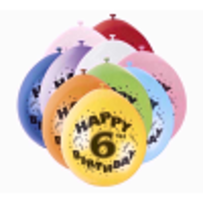 """Picture of 9"""" Latex Assorted Happy 6th Birthday Balloons, Pack of 10"""