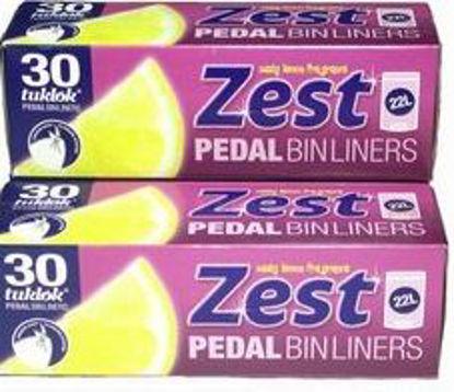 Picture of Zest Pedal Bin Liners - Zesty Lemon Fragrance - 22 Litres - Pack Of 30