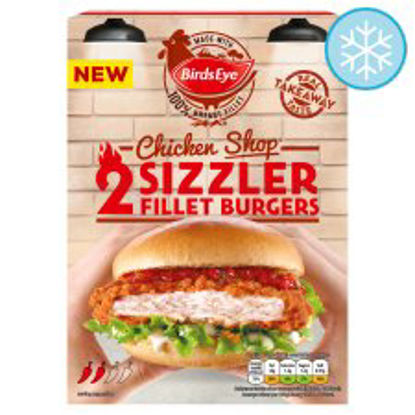 Picture of Birds Eye 2 Chicken Shop Sizzler Fillets Burger 227G