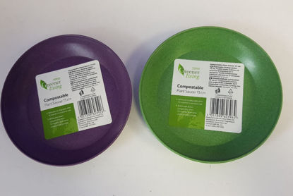 Picture of Greener Living Compostable Plant Saucer - 13m - Green