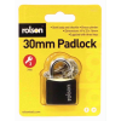 Picture of ROLSON BRASS PADLOCK 30MM