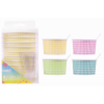 Picture of Ice Cream Tubs With Spoons Tableware Party Food Polka Dot Pack Of 16 Pink & Orange