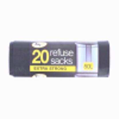 Picture of TIDYZ BIN LINER BLACK 20 BAGS 50LTR
