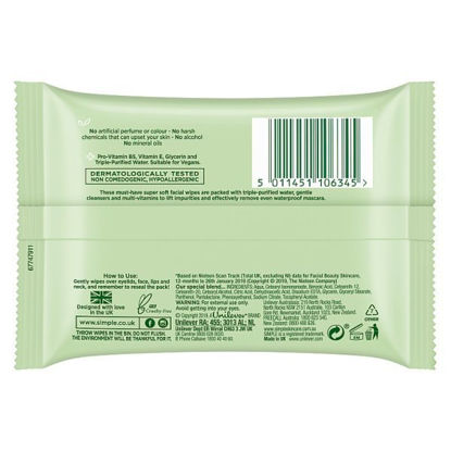 Picture of Simple Kind to Skin Facial Wipes Cleansing 7 wipes