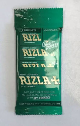Picture of Rizla Medium Thin Green Regular Cigarette Paper with Cut Corners - Pack of 5 Booklets