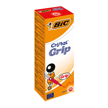 Picture of BIC Cristal Grip Ball Pen Clear Barrel 1.0mm Tip 0.4mm Line Red Ref 802803 [Pack of 20]