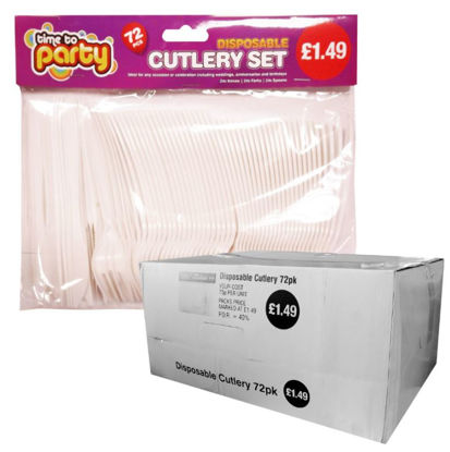 Picture of Disposable Plastic Cutlery - Pack of 72 - Price Marked £1.49