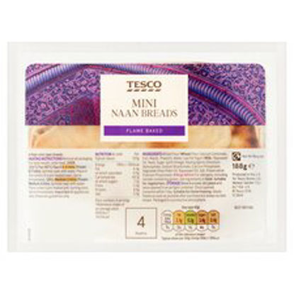 Picture of Tesco Mini Plain Naan 4Pack 188G