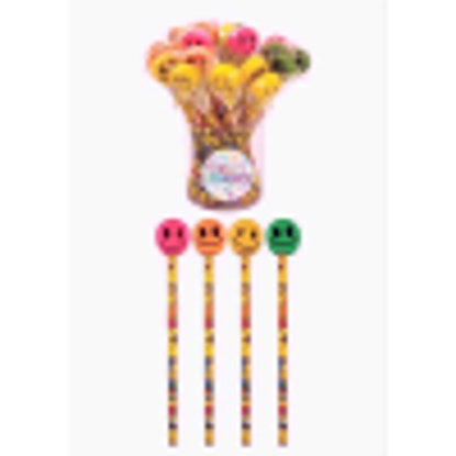 Picture of 24 x Smile Face Pencils With Novelty Erasers Toppers - Wholesale Bulk Buy