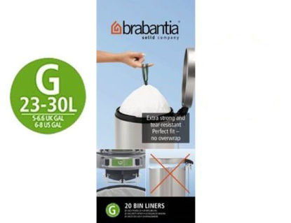 Picture of Brabantia Size G PerfectFit Bin Liners 23-30 Litre 40 Bags 2 x Rolls of 20