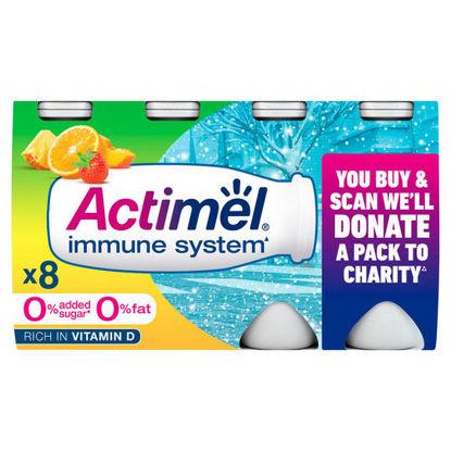 Picture of Actimel No Added Sugar 0% Fat Multifruit Yogurt Drink 8 x 100g (800g)