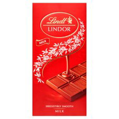 Picture of Lindt Lindor Milk Chocolate Bar 100 g (Pack of 10)